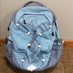 Light blue and gray North Face Borealis Backpack